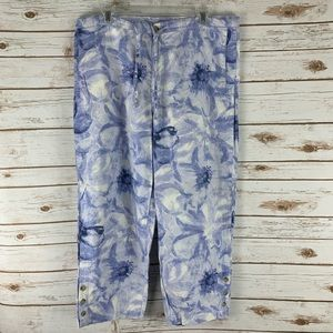Columbia cropped pants size L  blue floral